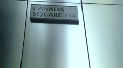 Canada Square sign Canary Wharf. Editorial Only. Stock Footage