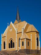 evangelical lutheran church in luderitz - stock photo