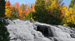Stock Video Footage of Lower Bond Falls Autumn Cascade Loop