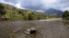 Shallow River With Mountain View Pan Right Stock Footage
