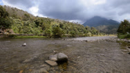 Stock Video Footage of Shallow River With Mountain View Pan Right