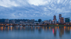 Portland Oregon Skyline with Colorful Water Reflection at Blue Hour Time Lapse Stock Footage