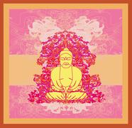 chinese traditional artistic buddhism pattern - stock illustration