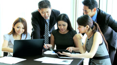 Team Meeting Ambitious Asian Chinese Business People Stock Footage