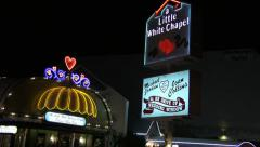 A Little White Chapel Signs at Night Stock Footage