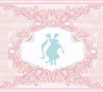elegant wedding invitation with wedding couple - stock illustration