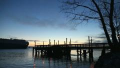 Fishing Pier Dusk and Car Freighter, Fraser River - stock footage