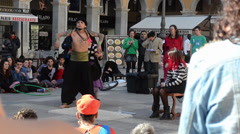 Street performer doing magic at Placa Major, Palma de Majorca, Spain Stock Footage