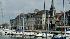 Europe France Normandy fishing village of Honfleur 043 marina with sailing boats Stock Footage