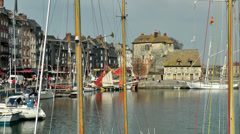 Europe France Normandy fishing village of Honfleur 045 wooden sailing masts Stock Footage