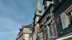 Europe France Normandy fishing village of Honfleur 048 old oblique facades Stock Footage