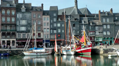 Europe France Normandy fishing village of Honfleur 050 boats in old harbor Stock Footage