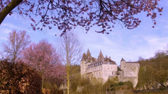 The 9th century castle of small Belgian town Durbuy. Stock Footage