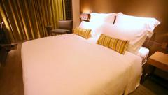 Motorized vertical dolly shot of a luxurious hotel room Stock Footage