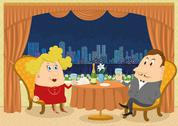 Stock Illustration of Gentleman and lady in Restaurant