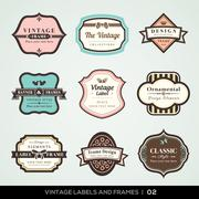 vintage labels and frames - stock illustration