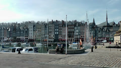 Europe France Normandy fishing village of Honfleur 051 border of harbor basin Stock Footage