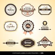 vintage bakery logo labels and frames - stock illustration