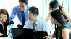 Team Meeting Ambitious Asian Chinese Business People - stock footage