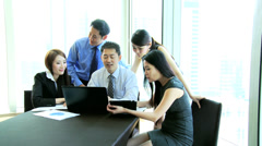 Group Meeting Young Ethnic Advertising Managers Laptop Tablet Technology - stock footage