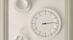 Kitchen watch wall clock at timelapse panoramic - stock footage