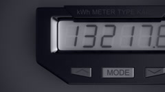 Digital electricity meter showing household consumption.power watt energy KWh Stock Footage