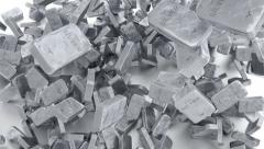 Falling down small silver bars. Stock Footage