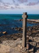 stone cross at diaz point - stock photo