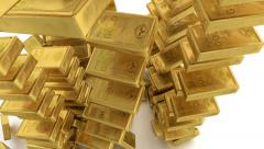 Falling down small gold bars. Stock Footage
