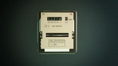 Analog electricity meter showing household consumption. watt energy KWh Stock Footage