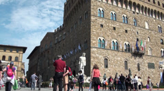 Crowd in the Piazza Signoria of Firenze Stock Footage