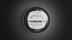 Analog electricity meter showing household consumption.power watt energy KWh Stock Footage