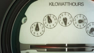 Stock Video Footage of Analog electricity meter showing household consumption.power watt energy KWh