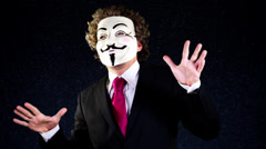 Anarchy vendetta mask man Stock Footage