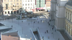 BUSY EUROPEAN CITY TIME LAPSE WITH PEOPLE IN RUSH AND LOT OF CARS HD 3 Stock Footage