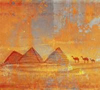 Stock Illustration of old paper with camel silhouette and pyramids giza , raster