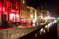 Amsterdam Red Light District Night 1 Stock Photos