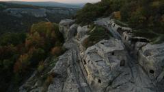Aerial View: Eski-Kermen cave city, near Bakhchisaray, Crimea. Stock Footage