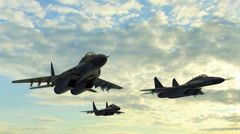 Mig 29 Fighter Jet fly in Formation Stock Footage