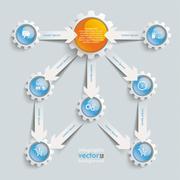 paper arrows gears blue orange flowchart - stock illustration
