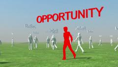 Crowd of people walking with Risk text and red leader with opportunity Stock Footage