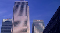 Three towers Canary Wharf. Editorial Only. Stock Footage