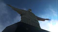 Shrouded in cloud Statue Jesus Christ the Redeemer Rio de Janeiro Stock Footage