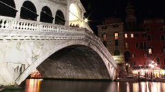 4K Venice's Grand Canal - Rialto Bridge - Venice Italy - Zoom In Stock Footage