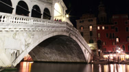 Stock Video Footage of 4K Venice's Grand Canal - Rialto Bridge - Venice Italy - Zoom In