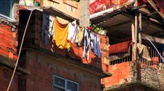 Hillside favela residential housing Urban area Rio de Janeiro Brazil Stock Footage