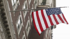 American Flag Waving from Curtis Center Stock Footage