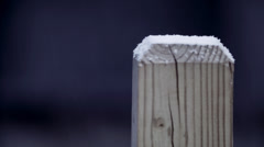 Evening Time-lapse Snow Accumulation on Deck Stock Footage