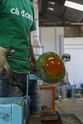 Crystal vase being made - stock photo