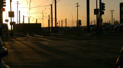 Dart Trains At Sunset Dallas Texas Stock Footage